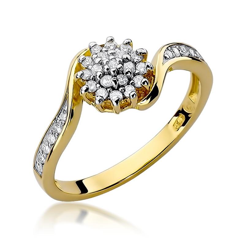 9dee446e79d955 Pierścionek zaręczynowy z brylantami 0.26