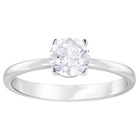 Pierścionek SWAROVSKI • Attract Round Ring, White, Rhodium plating 5402428