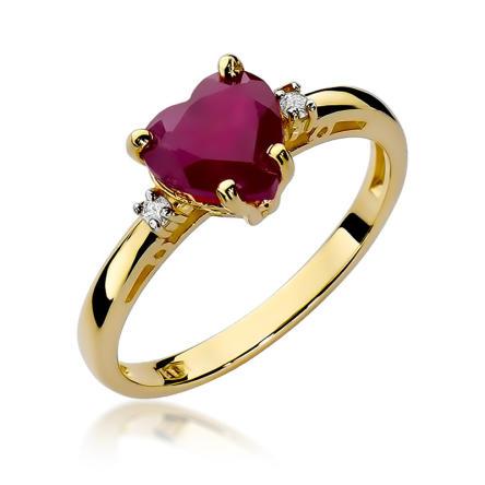 Pierścionek zaręczynowy z brylantami i rubinem 0.03