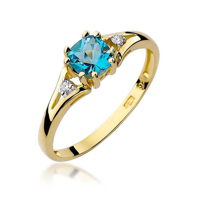 Pierścionek zaręczynowy z brylantami i topazem F044-585-T0.70/0.03