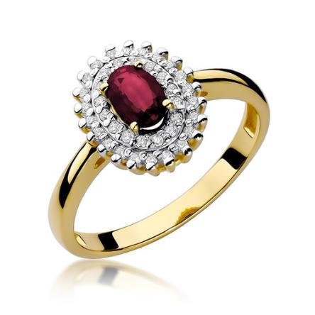 Pierścionek zaręczynowy z brylantami i rubinem 0,19