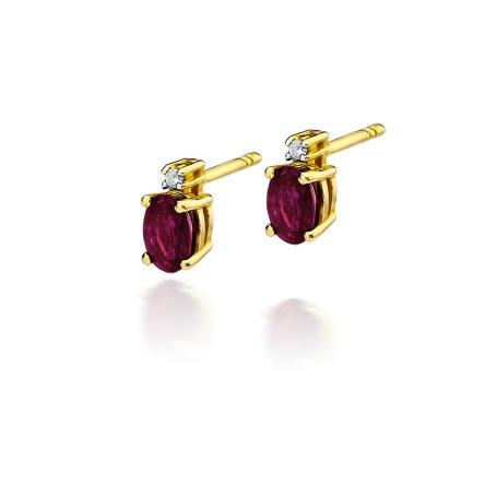 Kolczyki z brylantami i rubinami K01-585-R1.20/0.03