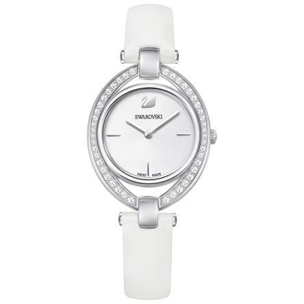Zegarek Swarovski • Stella Watch, Leather strap, White, Silver tone 5376812