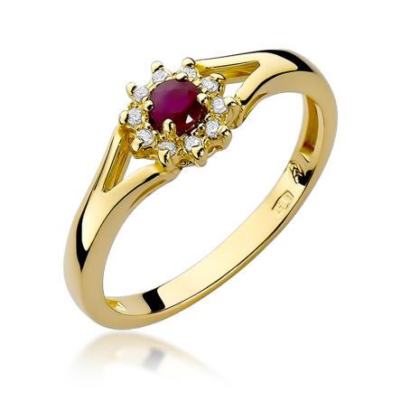 Pierścionek zaręczynowy z brylantami i rubinem 0.09