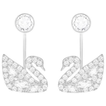 Kolczyki SWAROVSKI • Swan Lake Pierced Earring Jackets, White, Rhodium plating 5379944
