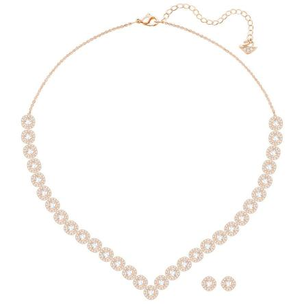 Zestaw SWAROVSKI • Angelic Square Set, Large, White, Rose gold plating 5351304